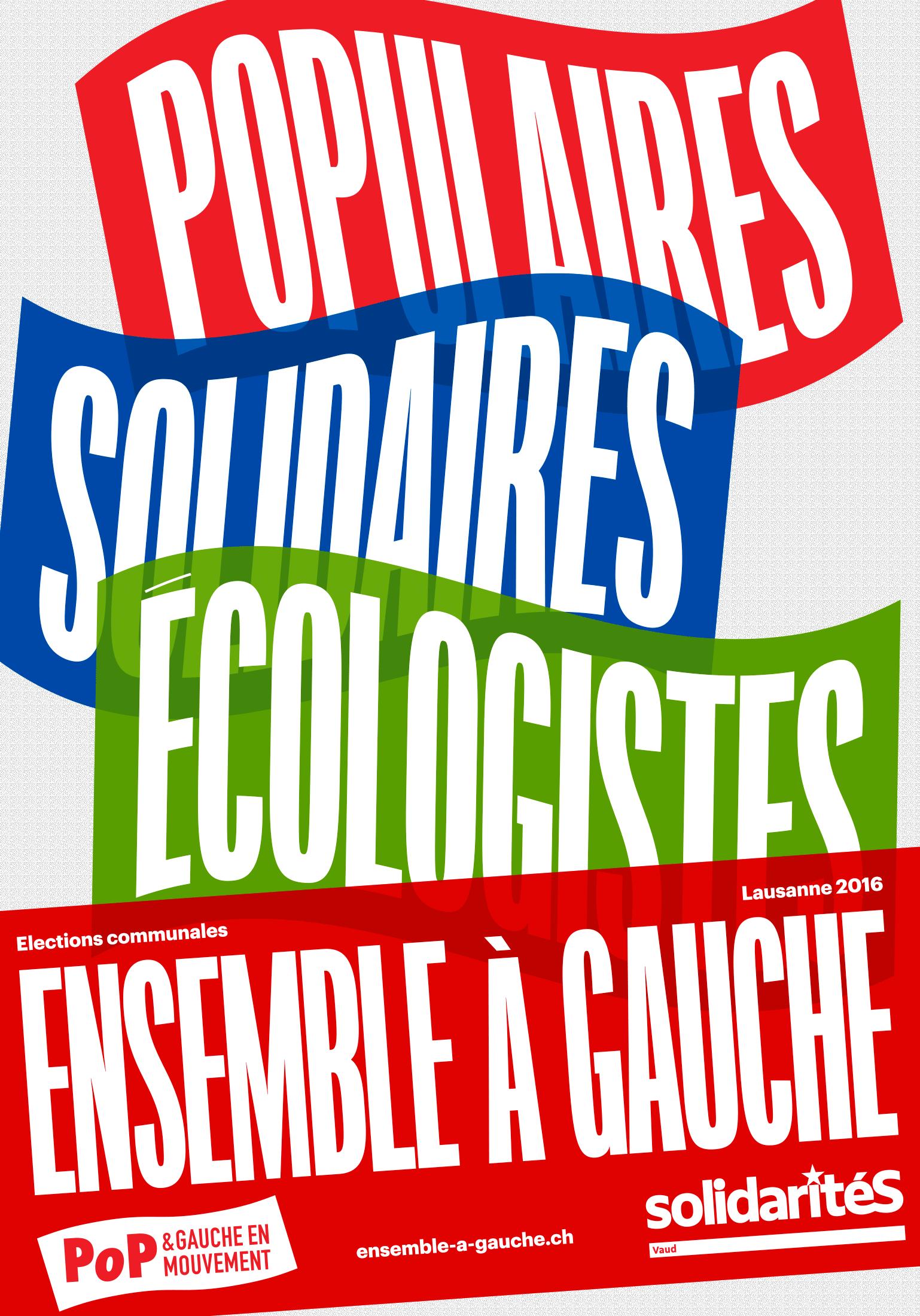 Affiche d'Ensemble à Gauche pour les élections communales de Lausanne