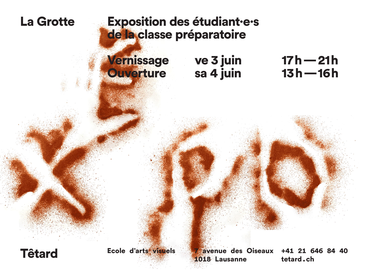 Flyer pour une exposition à l'école d'arts visuels Têtard, recto