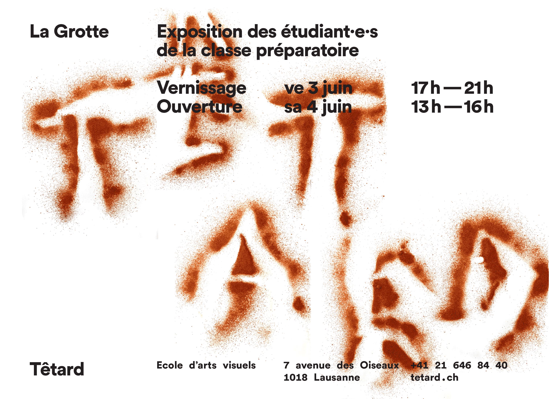 Flyer pour une exposition à l'école d'arts visuels Têtard, verso