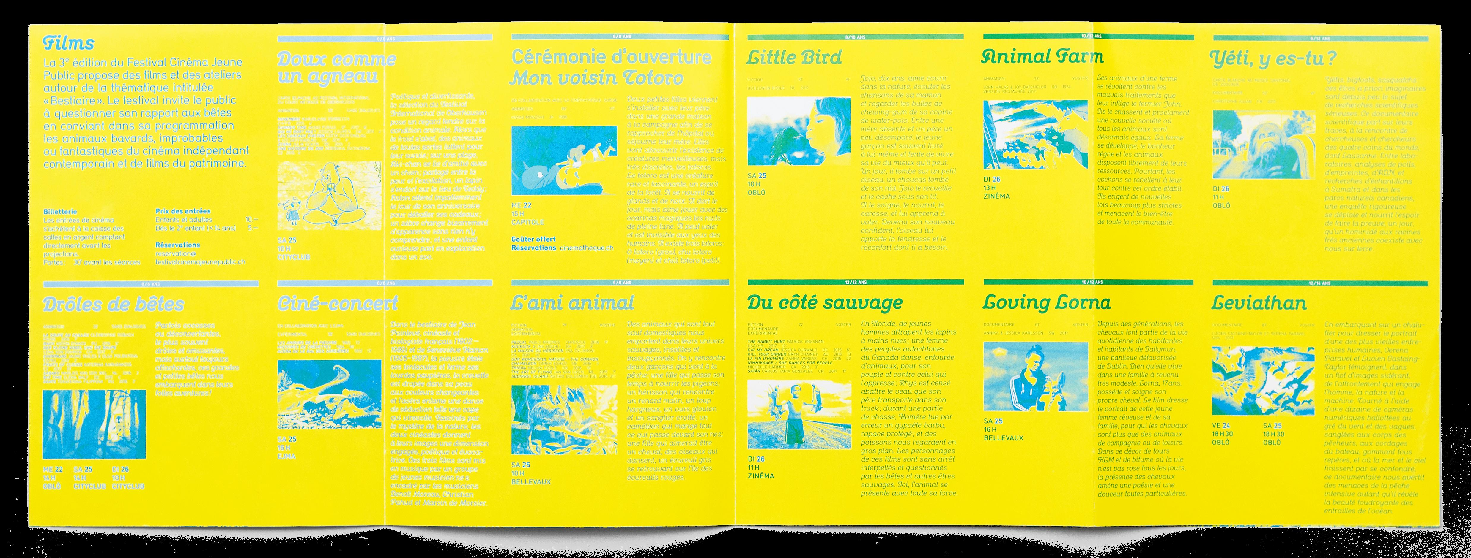 Intérieur du programme du Festival Cinéma Jeune Public 2017