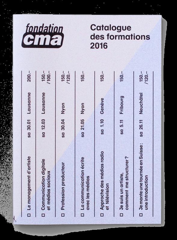 Couverture de la brochure du catalogue des formations de la FCMA