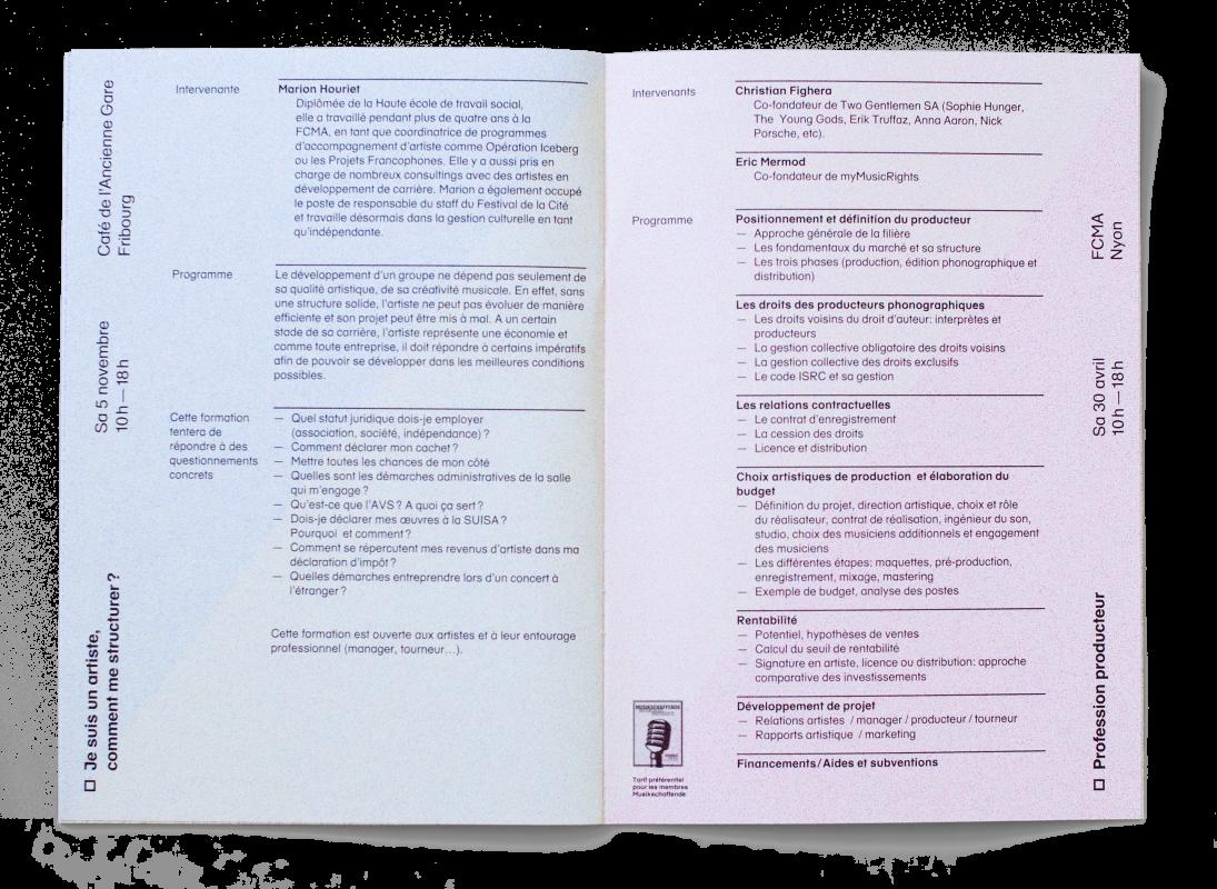 Double page de la brochure du catalogue des formations de la FCMA