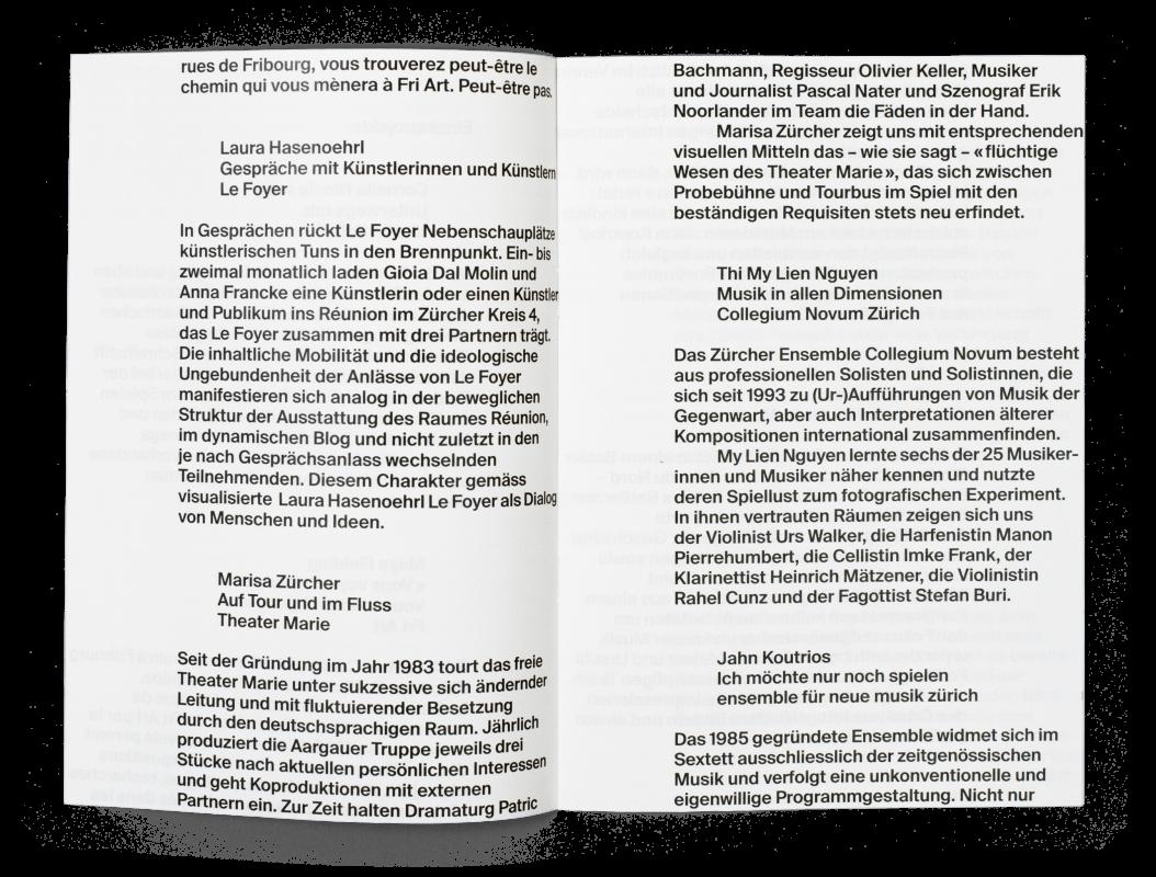 Coffret Fondation Nestlé pour l'art: double page de la brochure HSLU