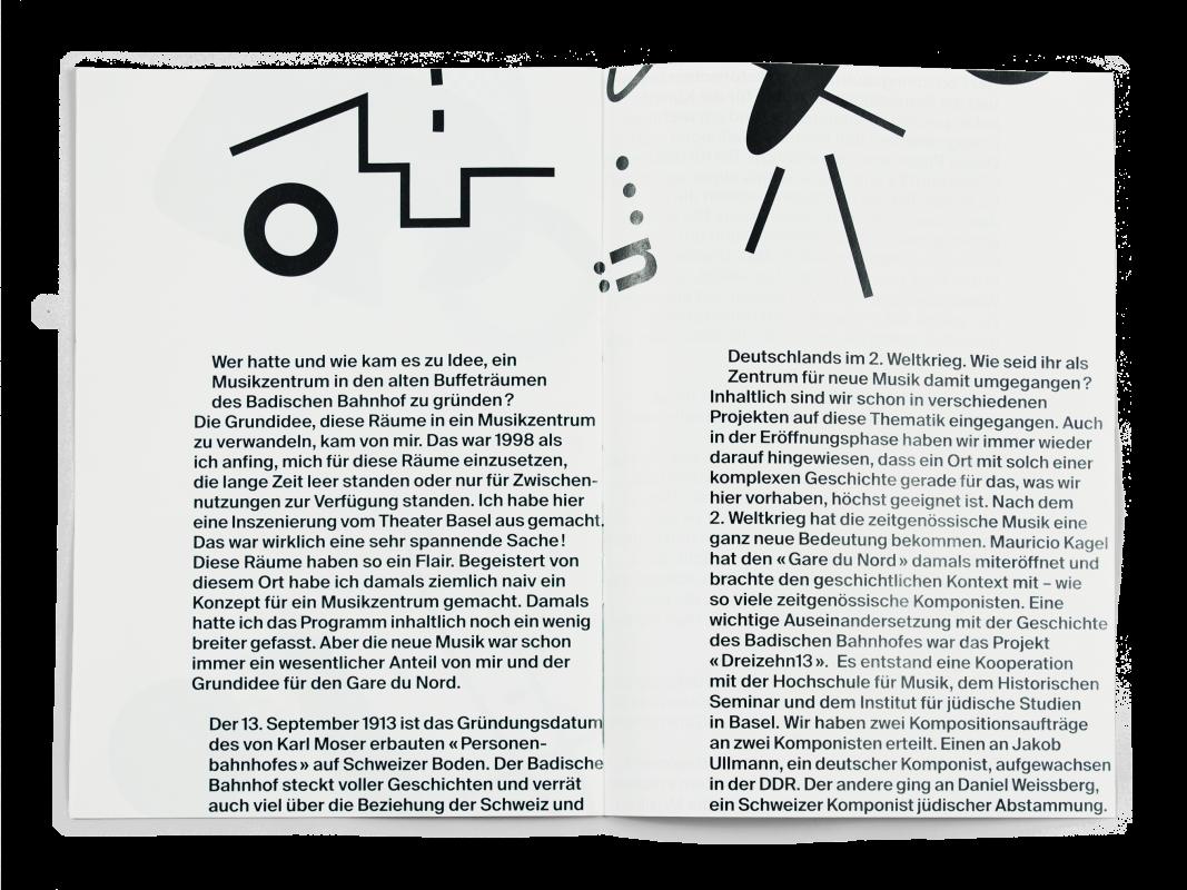 Coffret Fondation Nestlé pour l'art: Double page de la brochure de Enea Bortone, étudiant de la HSLU (Lucerne).