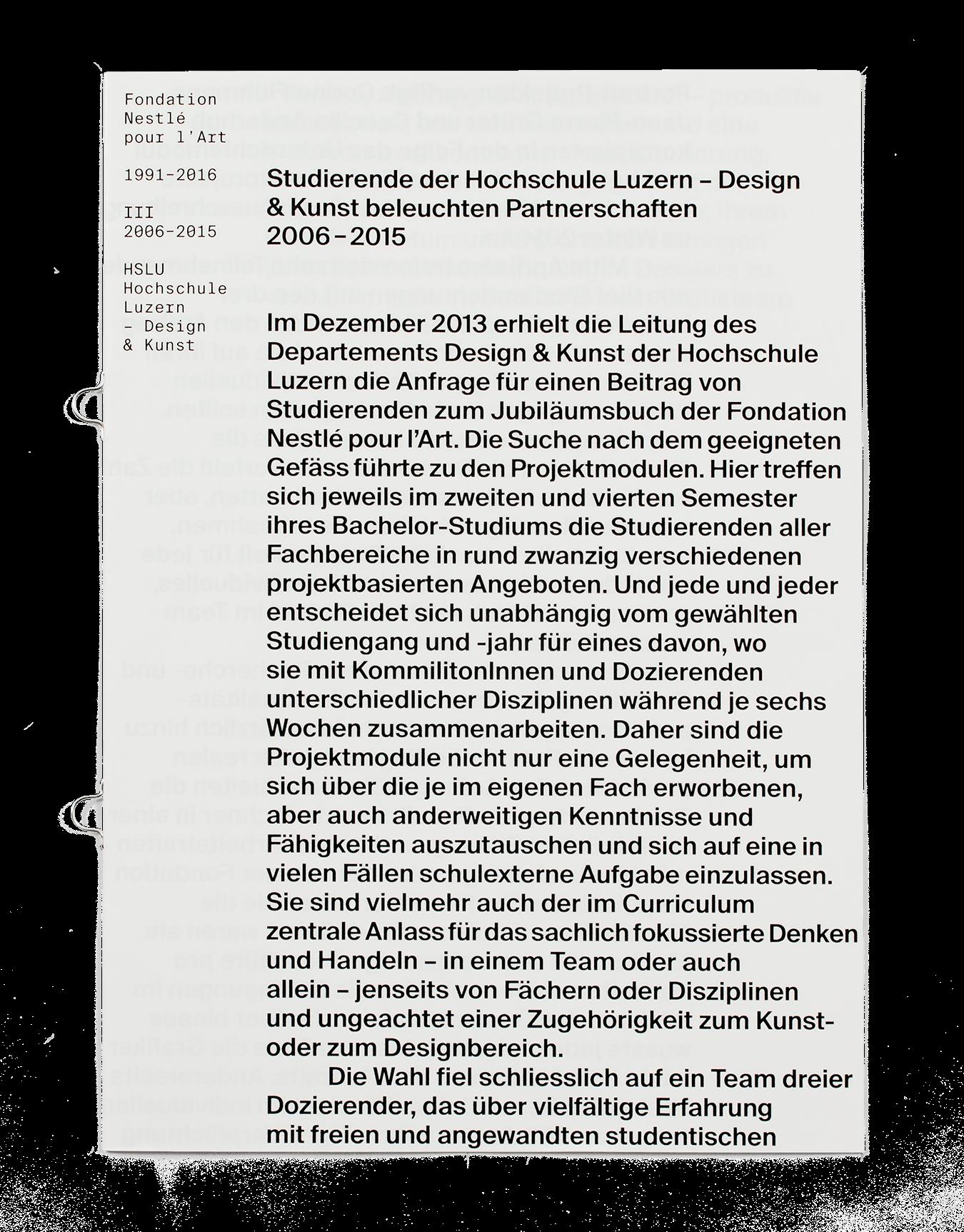 Coffret Fondation Nestlé pour l'art: Couverture de la brochure d'introduction aux travaux des étudiant·e·s de la HSLU (Lucerne).
