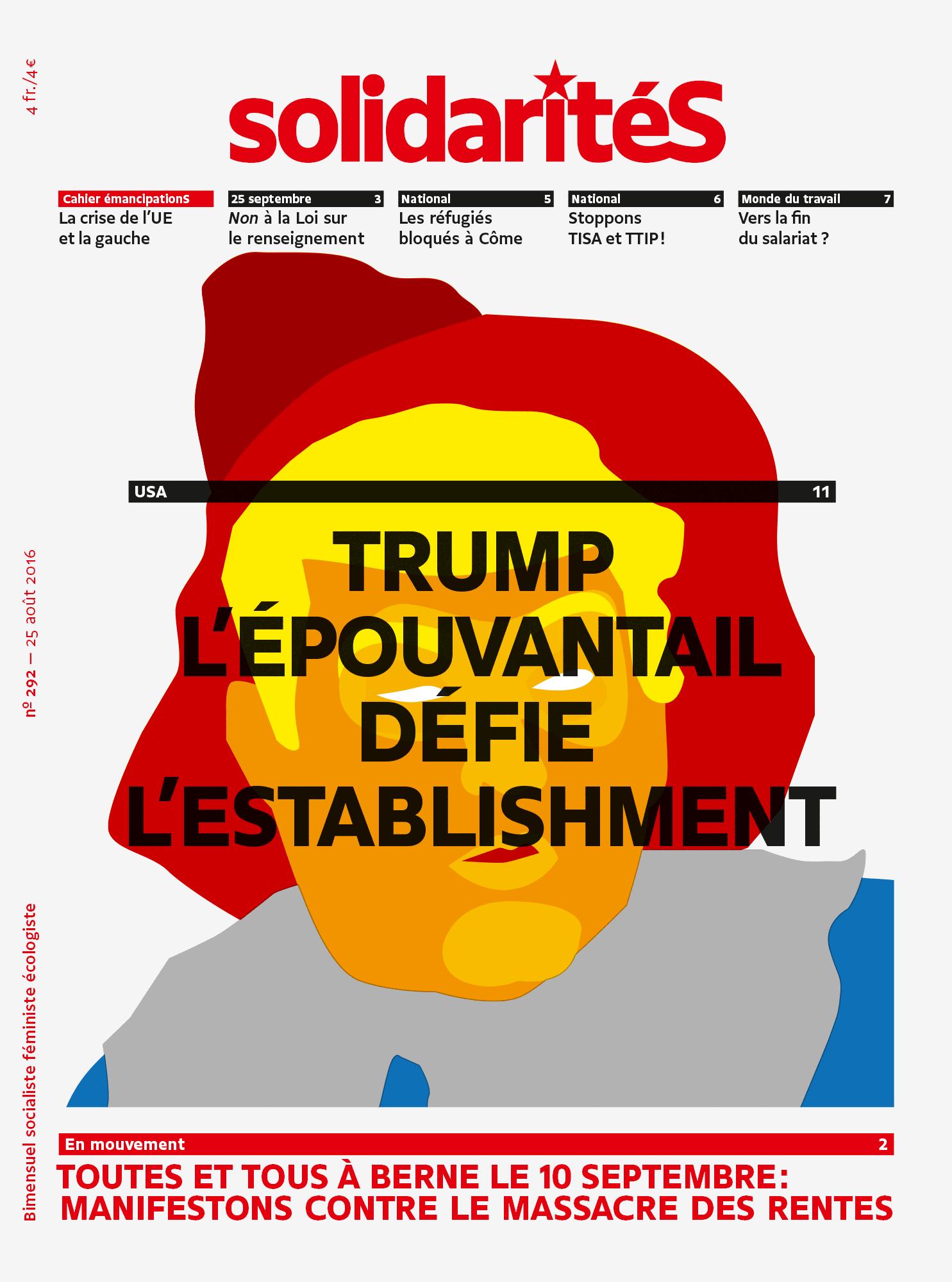 Couverture du numéro 292 du bimensuel solidaritéS