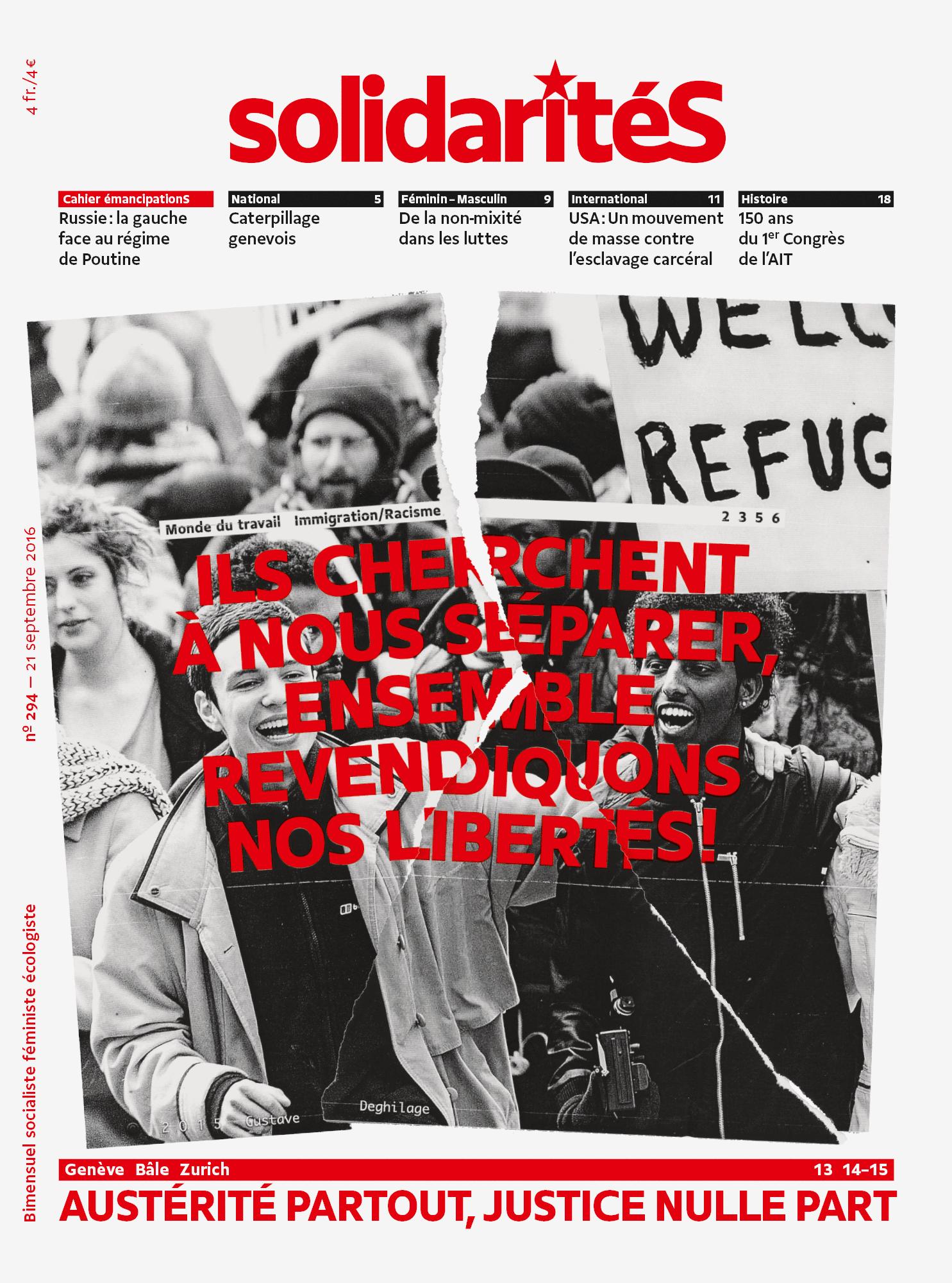 Couverture du numéro 294 du bimensuel solidaritéS
