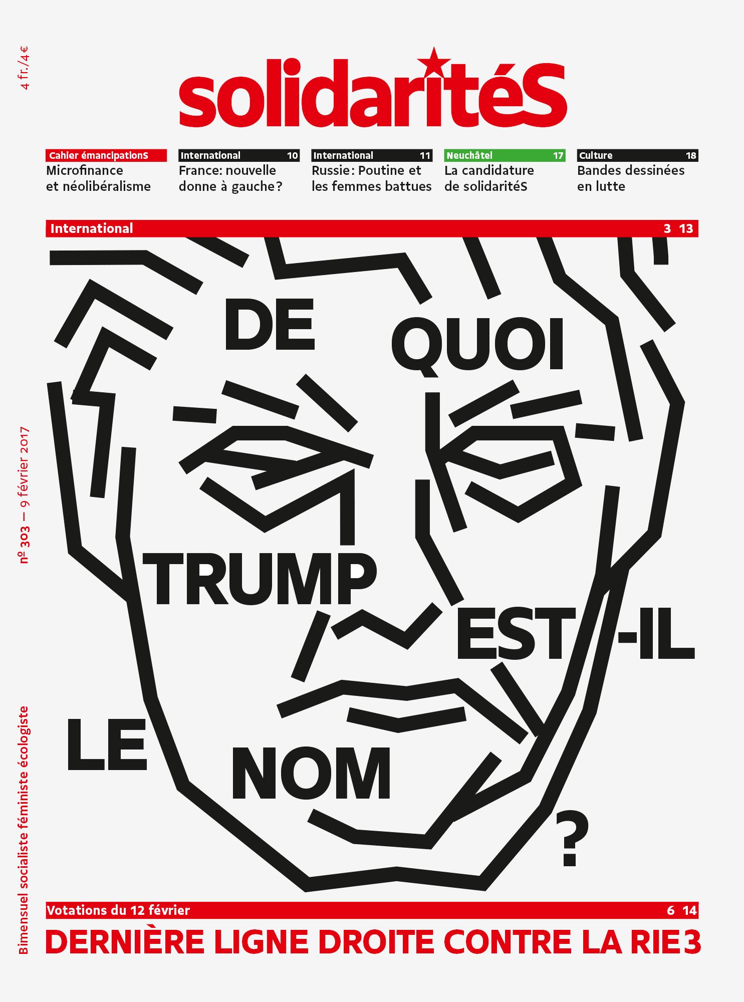 Couverture du numéro 303 du bimensuel solidaritéS