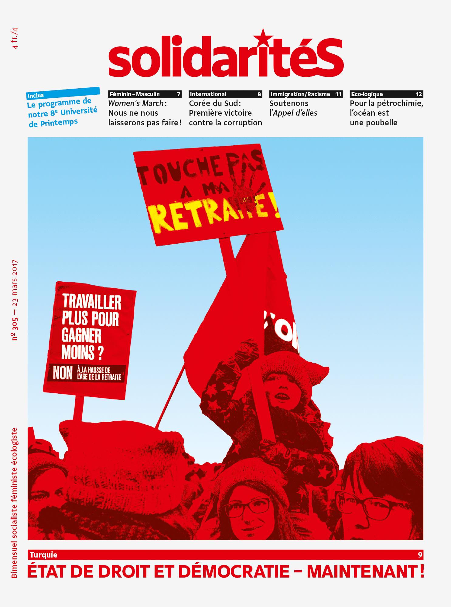 Couverture du numéro 305 du bimensuel solidaritéS
