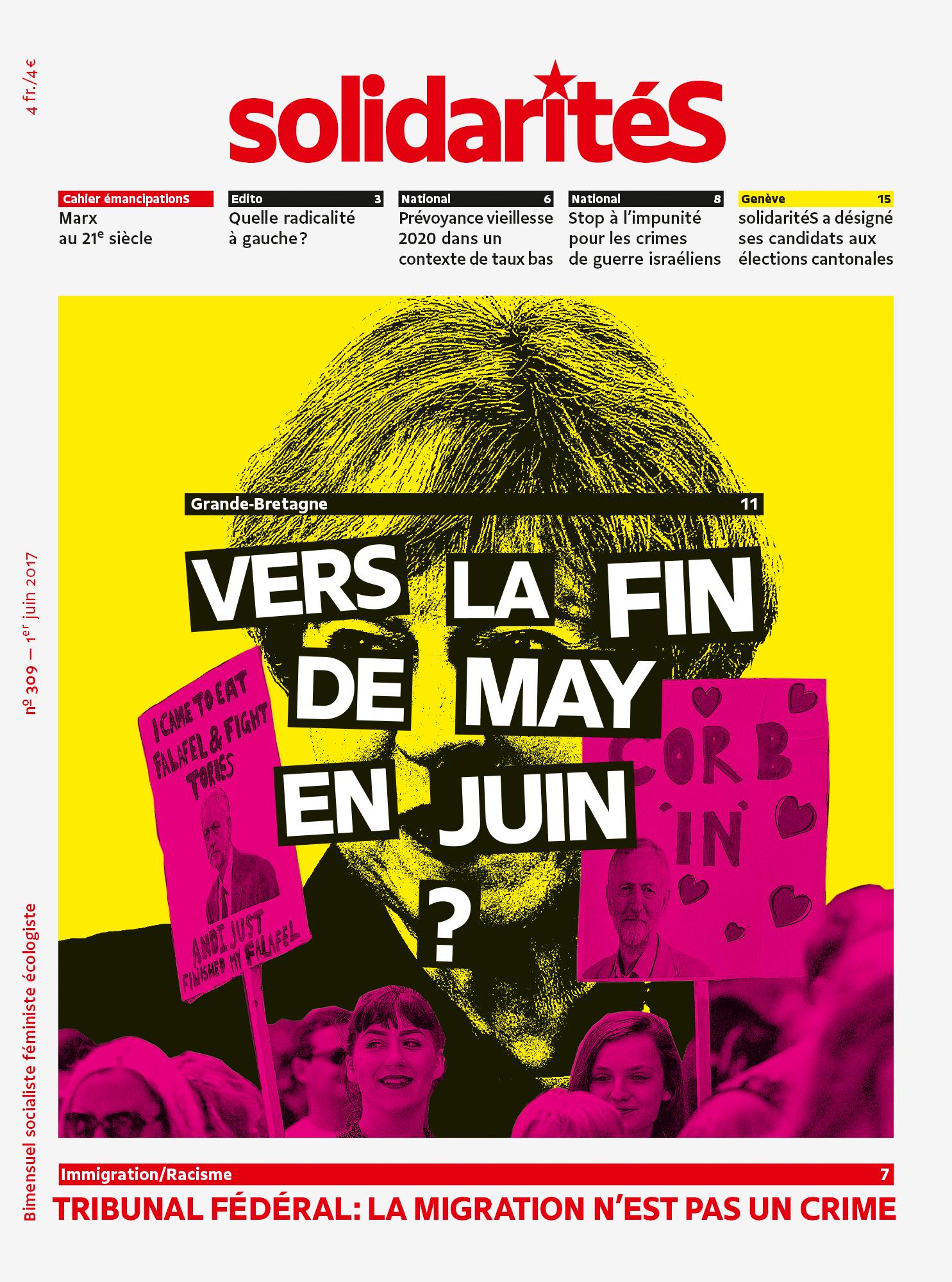 Couverture du numéro 309 du bimensuel solidaritéS
