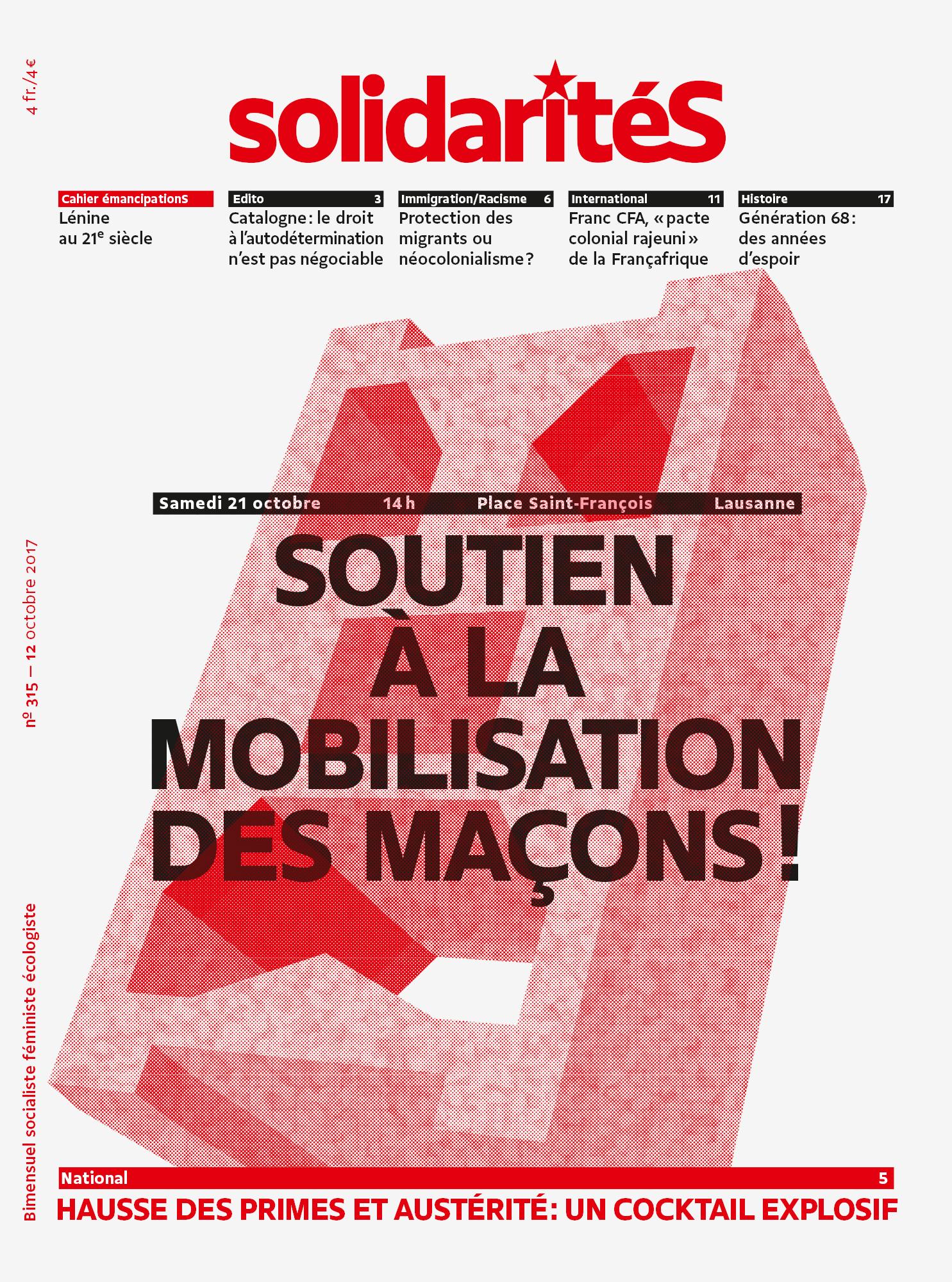 Couverture du numéro 315 du bimensuel solidaritéS
