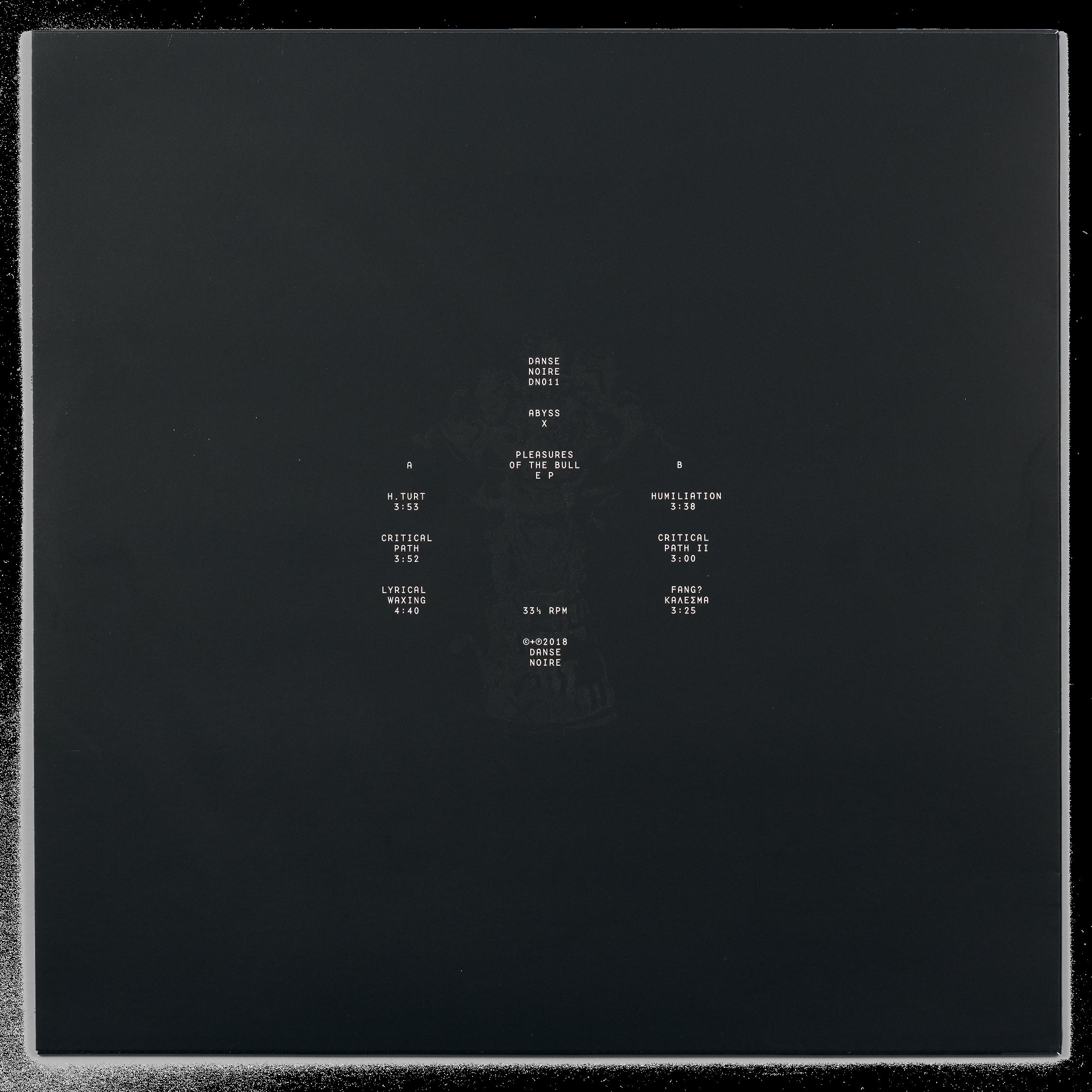 Danse Noire 011, Abyss X, Pleasures of the Bull vinyl, dos