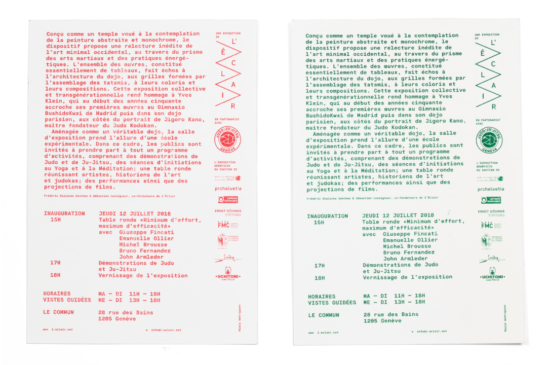 Verso des flyers de l'exposition DOJO