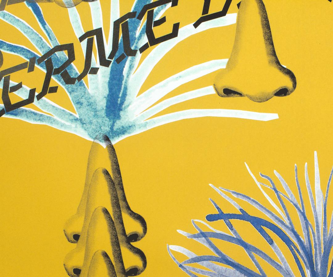 Détail du collage de Charlotte Herzig et Sarah Margnetti sur l'affiche de leur exposition à la ferme de la Chapelle
