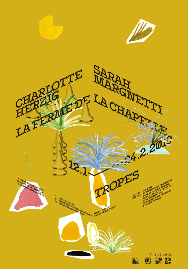 Collage de Charlotte Herzig et Sarah Margnetti sur l'affiche de leur exposition à la ferme de la Chapelle