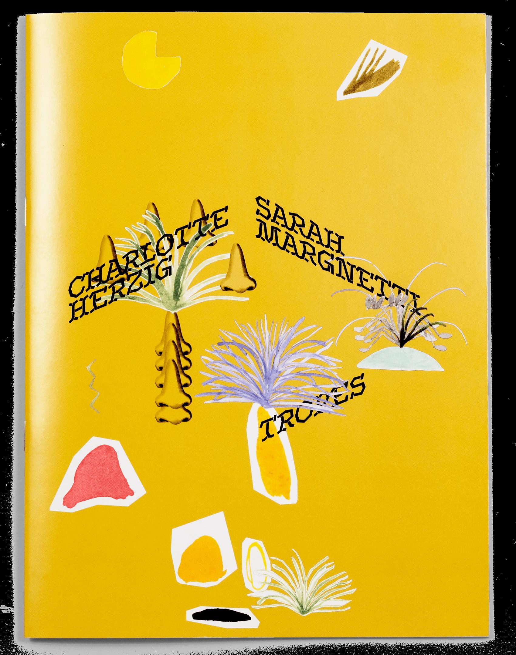 Collage de Charlotte Herzig et Sarah Margnetti sur la brochure de leur exposition à la ferme de la Chapelle