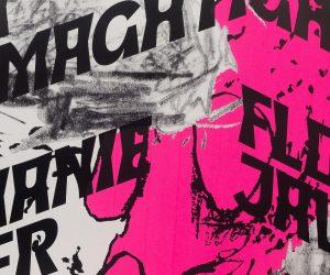 Détail d'impression d'une affiche pour une exposition de Leyla Goormaghtigh, Stéphanie Pfister et Florian Javet