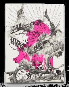 Collage de dessins sur la couverture de la brochure de l'exposition de Leyla Goormaghtigh, Stéphanie Pfister et Florian Javet