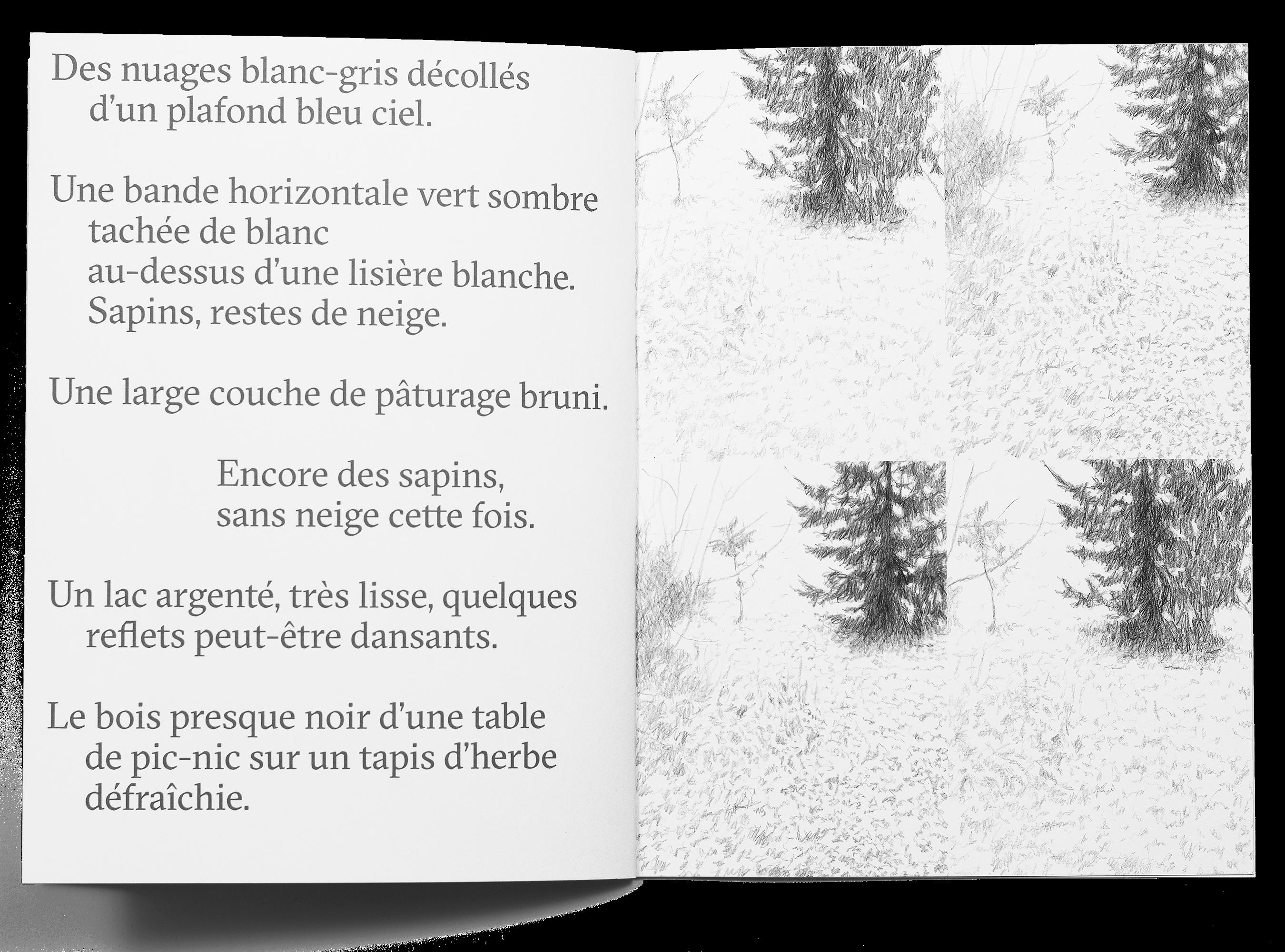 Double page d'œuvres de Julia Sorensen dans la brochure de l'exposition Ainsi de suite