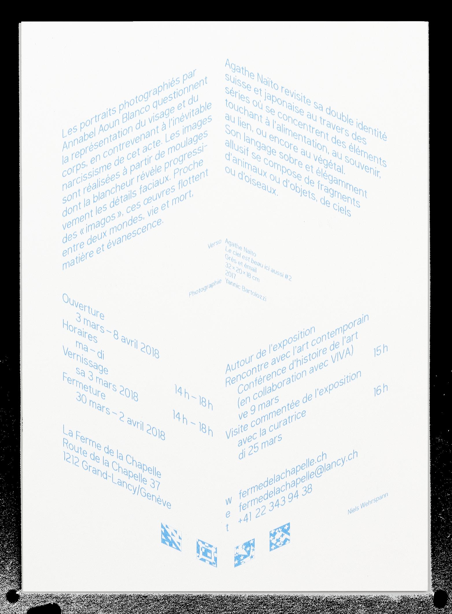 Carton d'invitation pour l'exposition de Annabel Aoun Blanco et Agathe Naïto