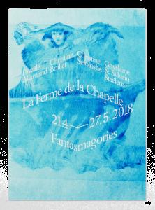 Monotype de Christine Sefolosha sur le carton d'invitation pour l'exposition à la Ferme de la Chapelle