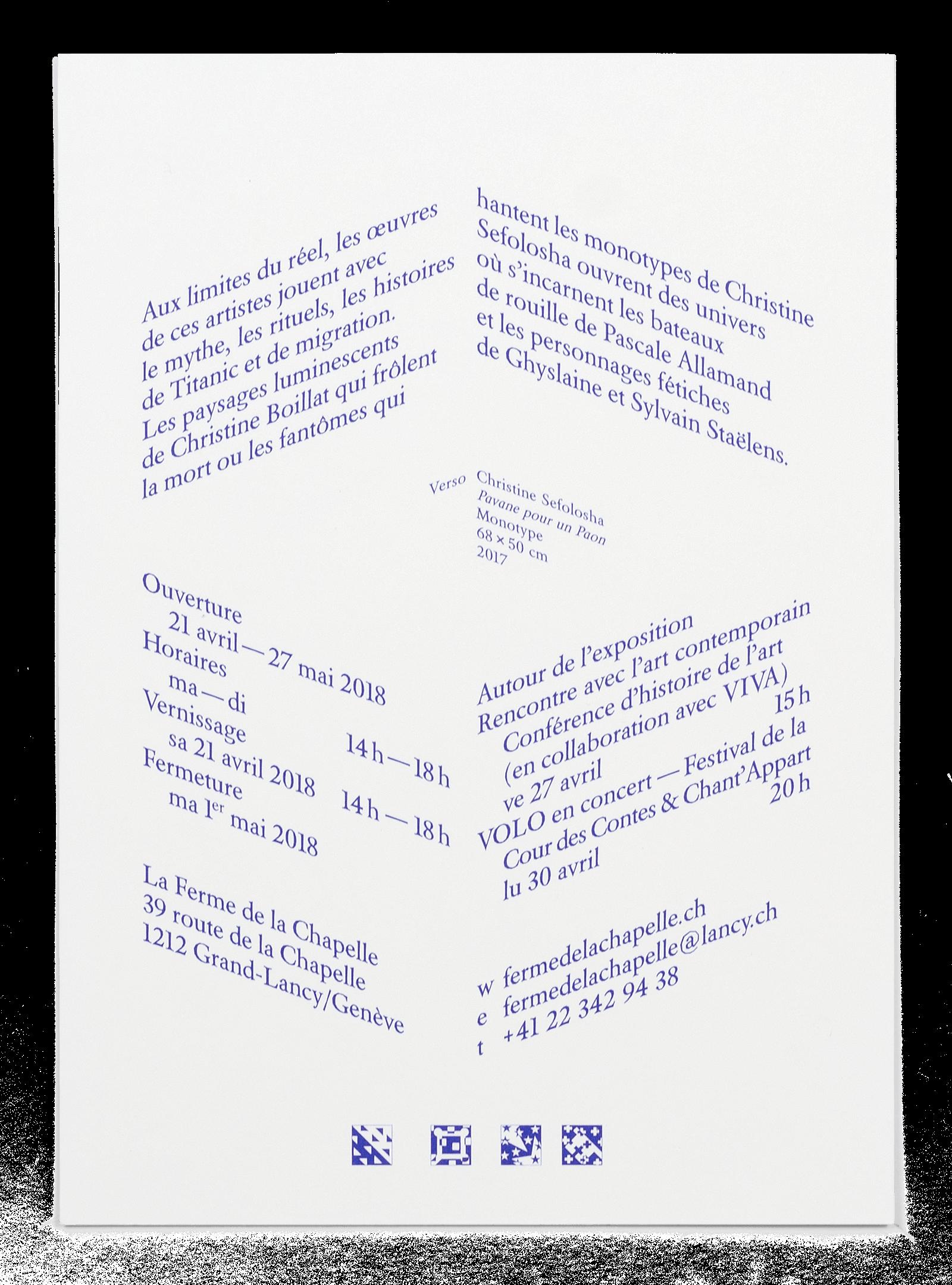 Verso du carton d'invitation de l'exposition Fantasmagories à la Ferme de la Chapelle
