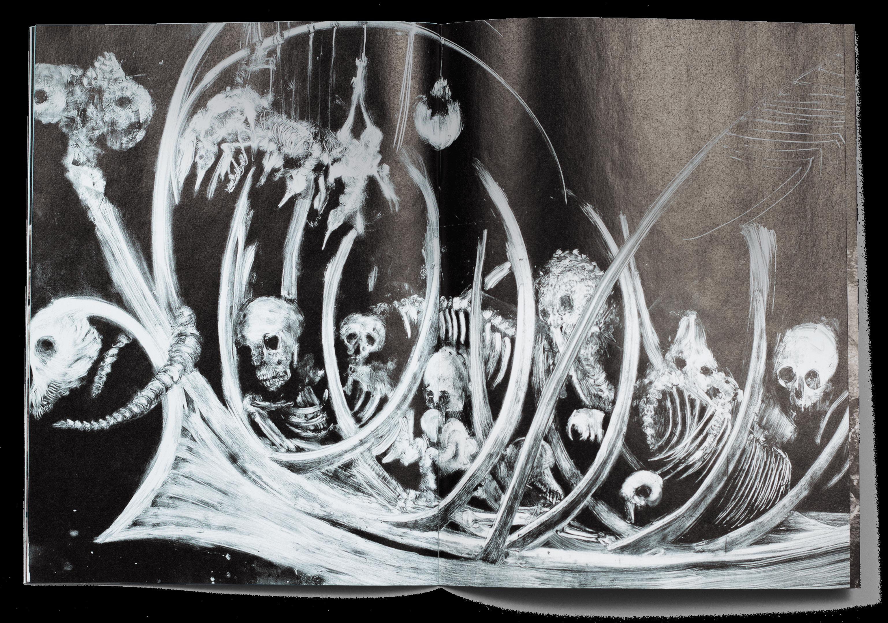Double page de la brochure de l'exposition de Pascale Allaman, Christine Boillat, Christine Sefolosha et Ghyslaine & Sylvain Staëlens