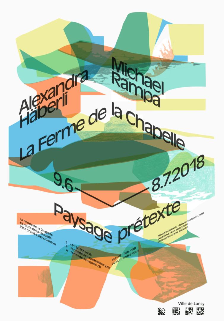 Peinture de Alexandra Häberli sur l'affiche pour l'exposition Paysage Prétexte à la Ferme de la Chapelle