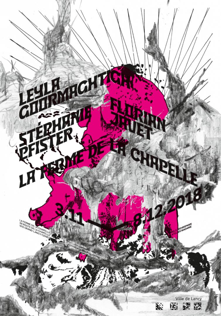Collage de dessins sur une affiche pour une exposition de Leyla Goormaghtigh, Stéphanie Pfister et Florian Javet