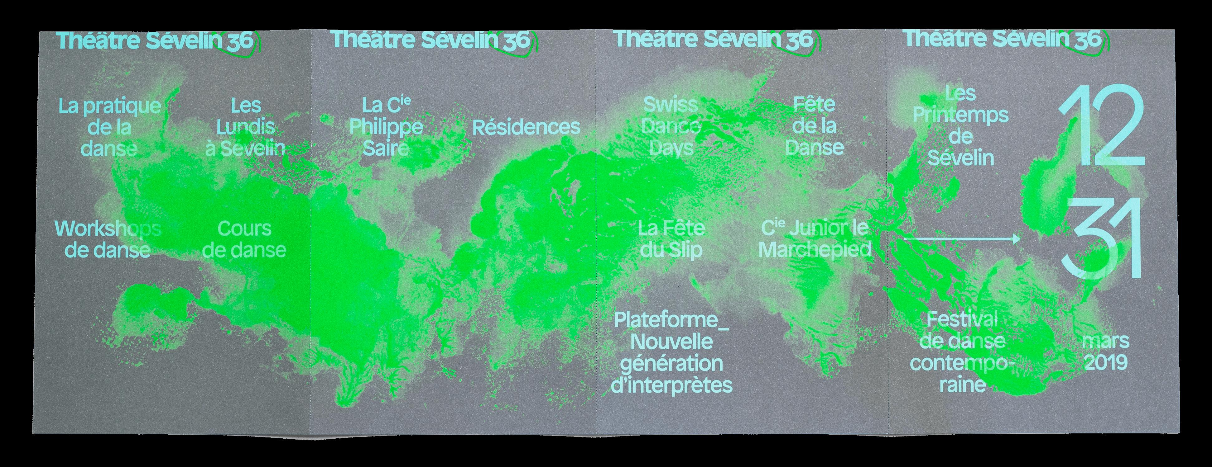Illustration d'Isabelle Schiper sur le dépliant de saison 2019 pour le Théâtre Sévelin 36, Lausanne, recto