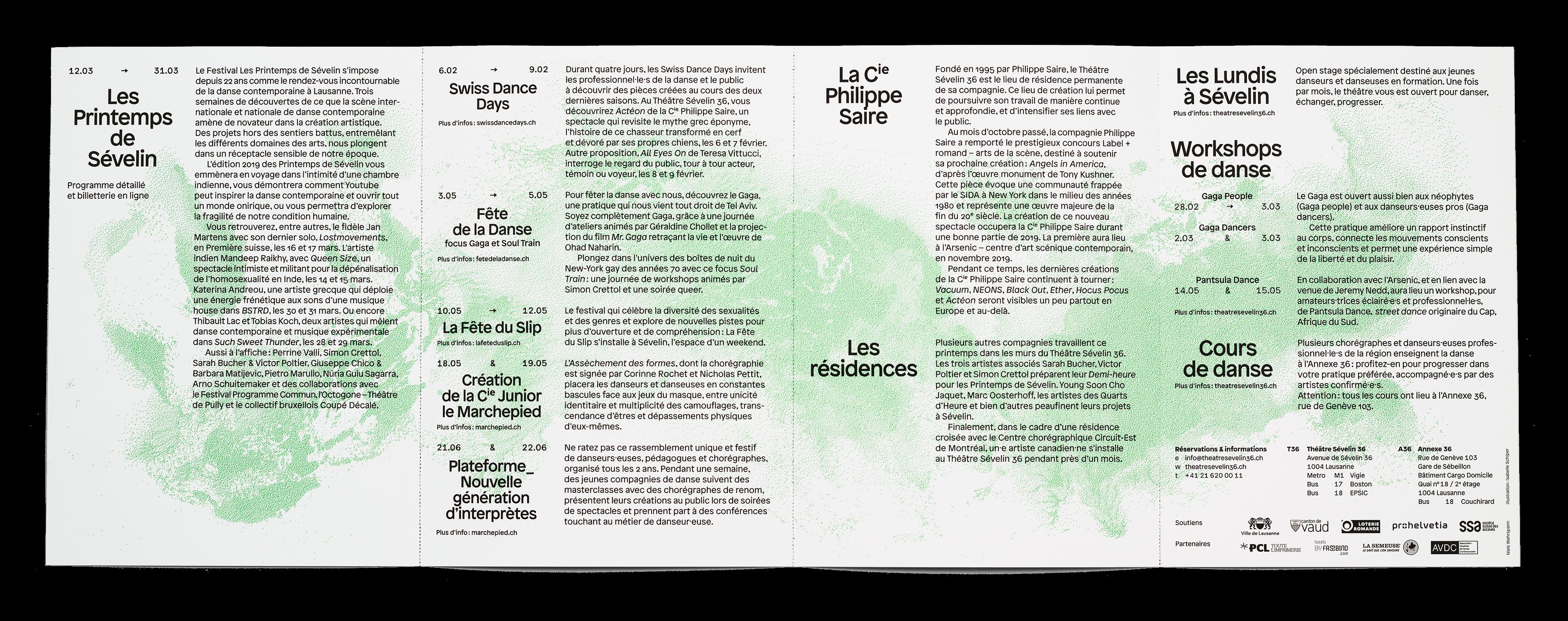 Intérieur du dépliant de saison 2019 du Théâtre Sévelin 36