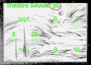 Illustration d'Isabelle Schiper sur le dépliant de saison pour le Théâtre Sévelin 36, Lausanne, recto