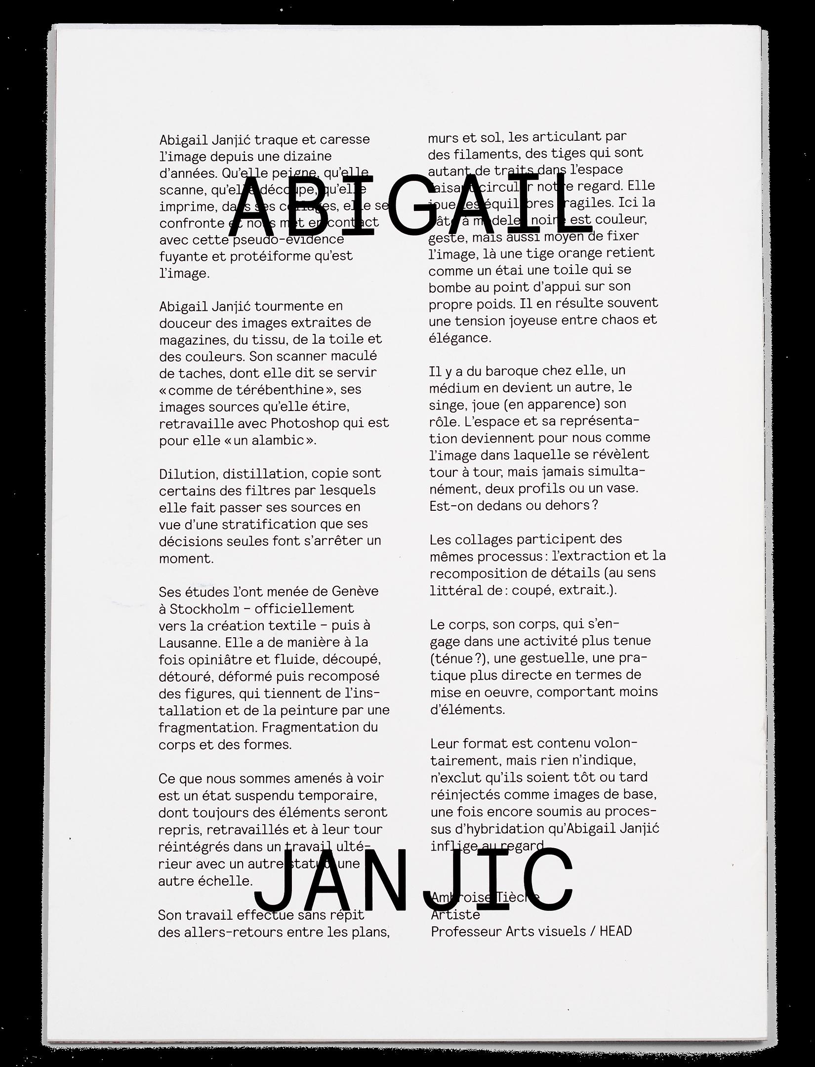 Dos du portfolio de l'artiste Abigail Janjic