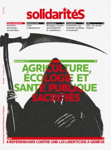 Couverture du numéro 328 du bimensuel solidaritéS: Monsanto et cie: griculture, écologie et santé publique sacrifiés