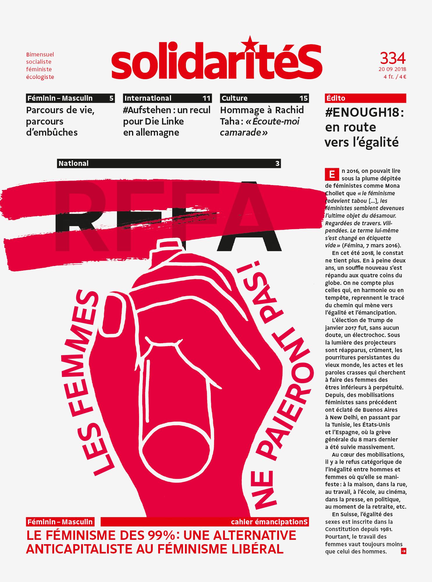 Couverture du numéro 334 de solidaritéS: RFFA: les femmes ne paieront pas!