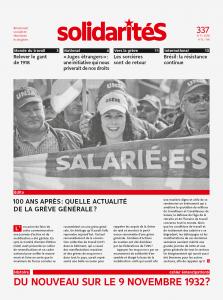Couverture du numéro 337 de solidaritéS: 100 ans après: quelle actualité de la Grève générale?