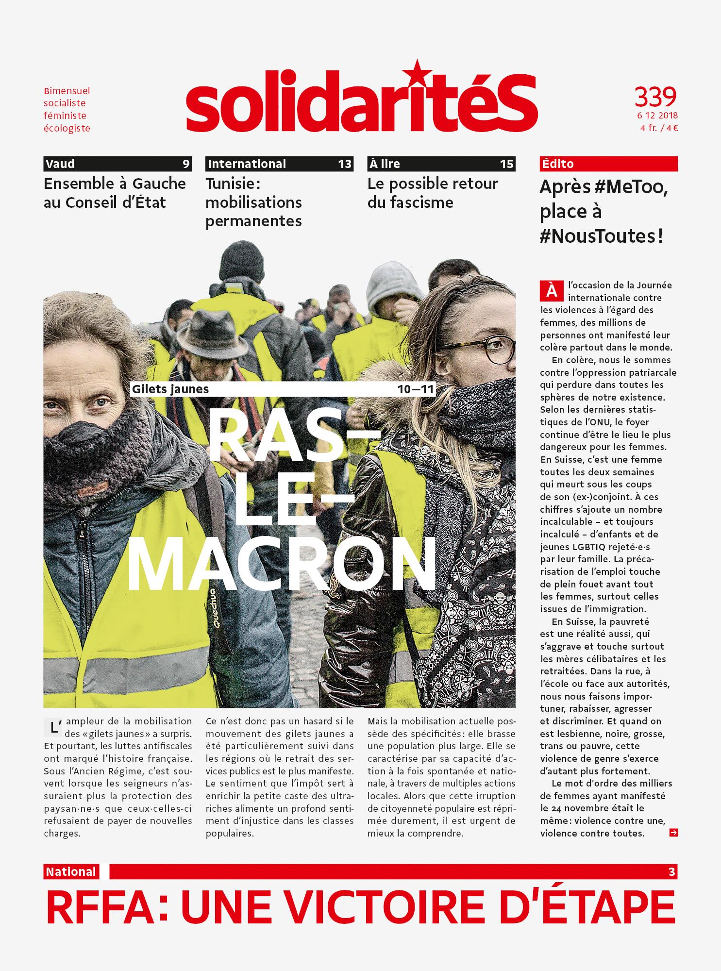 Couverture du numéro 339 de solidaritéS: Gilets jauens: ras-le-Macron
