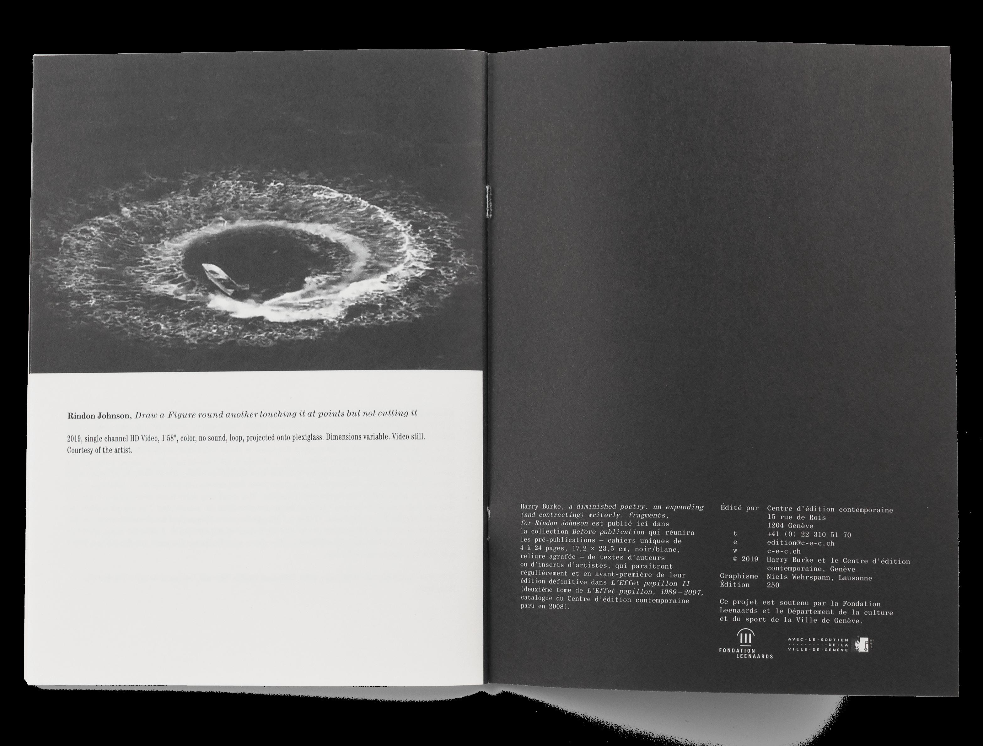 Intérieur de la brochure de Harry Burke pour le Centre d'édition contemporaine Genève