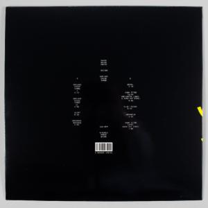 """Verso de la pochette de l'édition vinyle de l'album de Racine, """"Quelque chose tombe"""""""