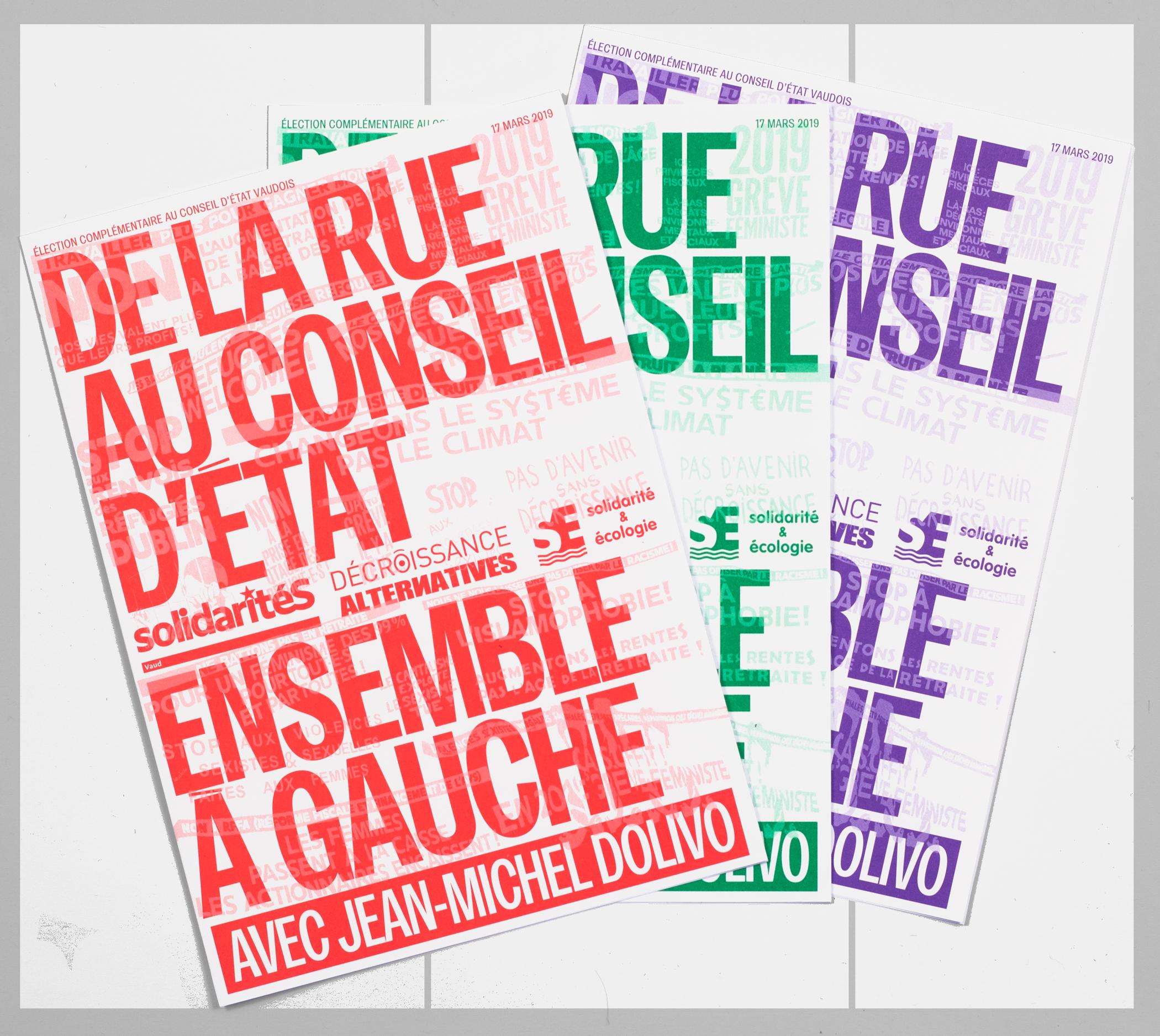 Tracts électoraux d'Ensemble à Gauche de différents couleurs