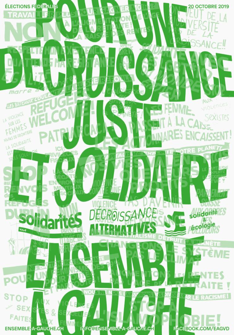 """Slogan """"Pour une décroissance juste et solidaire"""" sur une affiche électorale"""