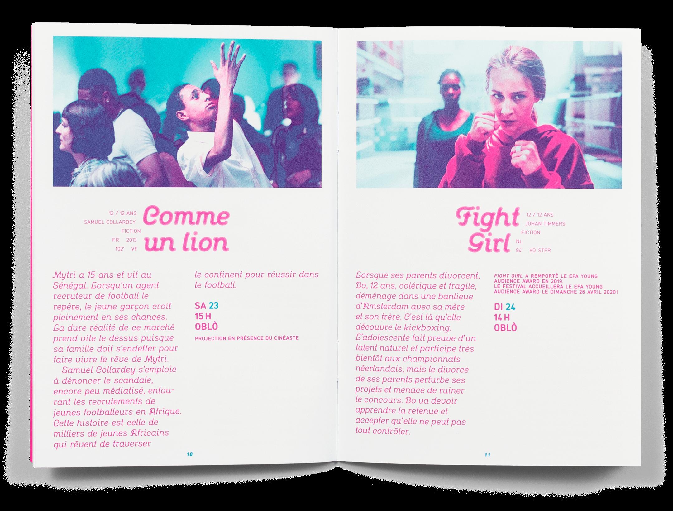 Double page du programme du Festival Cinéma Jeune Public 2019