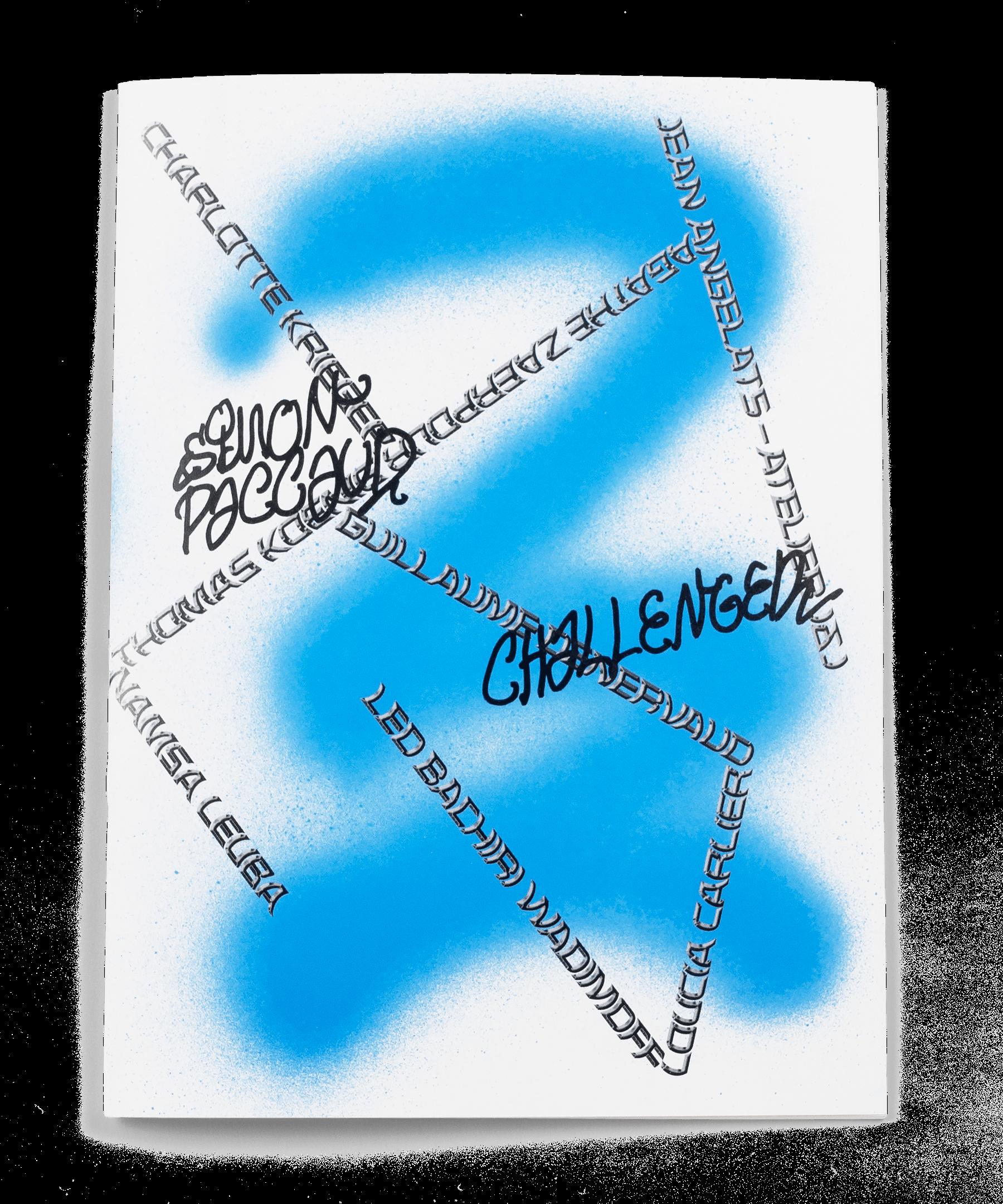 Spray et tags sur la couverture de la brochure de l'exposition de Simon Paccaud à la Ferme de la Chapelle