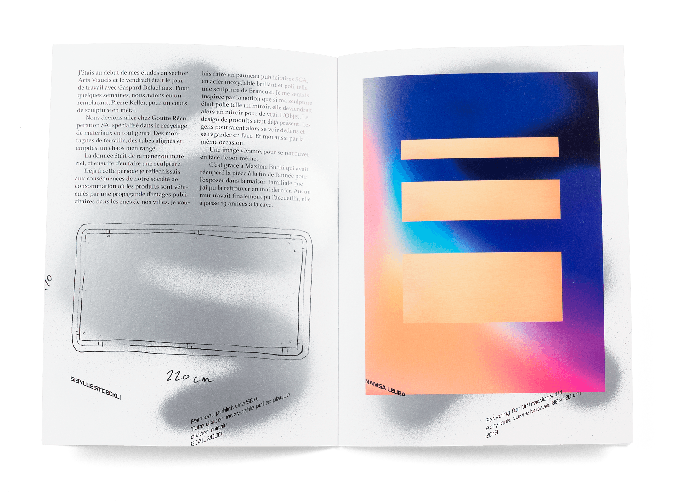 Œuvres de Sibylle Stoeckli et Namsa Leuba dans la brochure de l'exposition de Simon Paccaud à la Ferme de la Chapelle