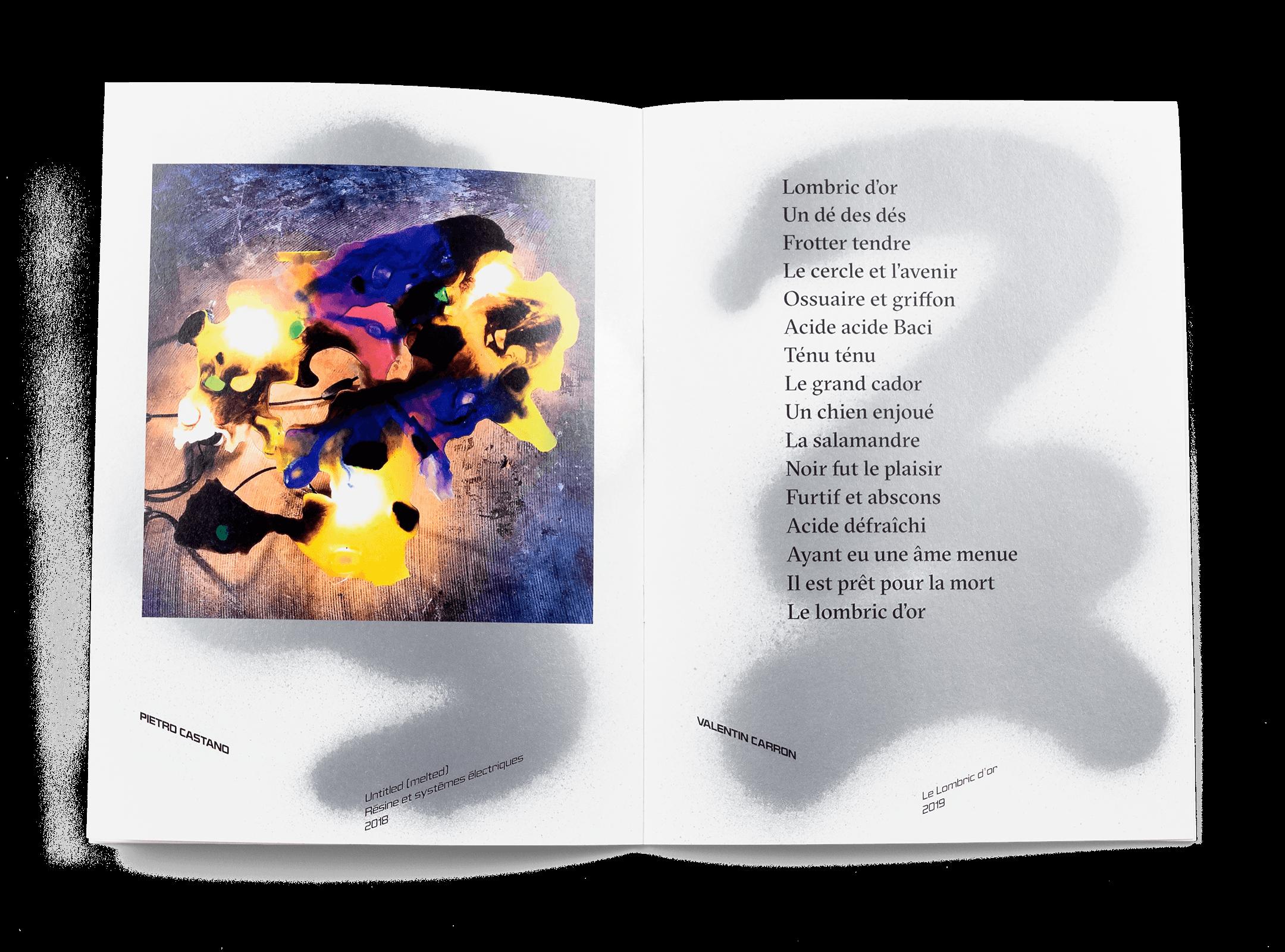 Œuvres de Pietro Castano et Valentin Carron dans la brochure de l'exposition de Simon Paccaud à la Ferme de la Chapelle