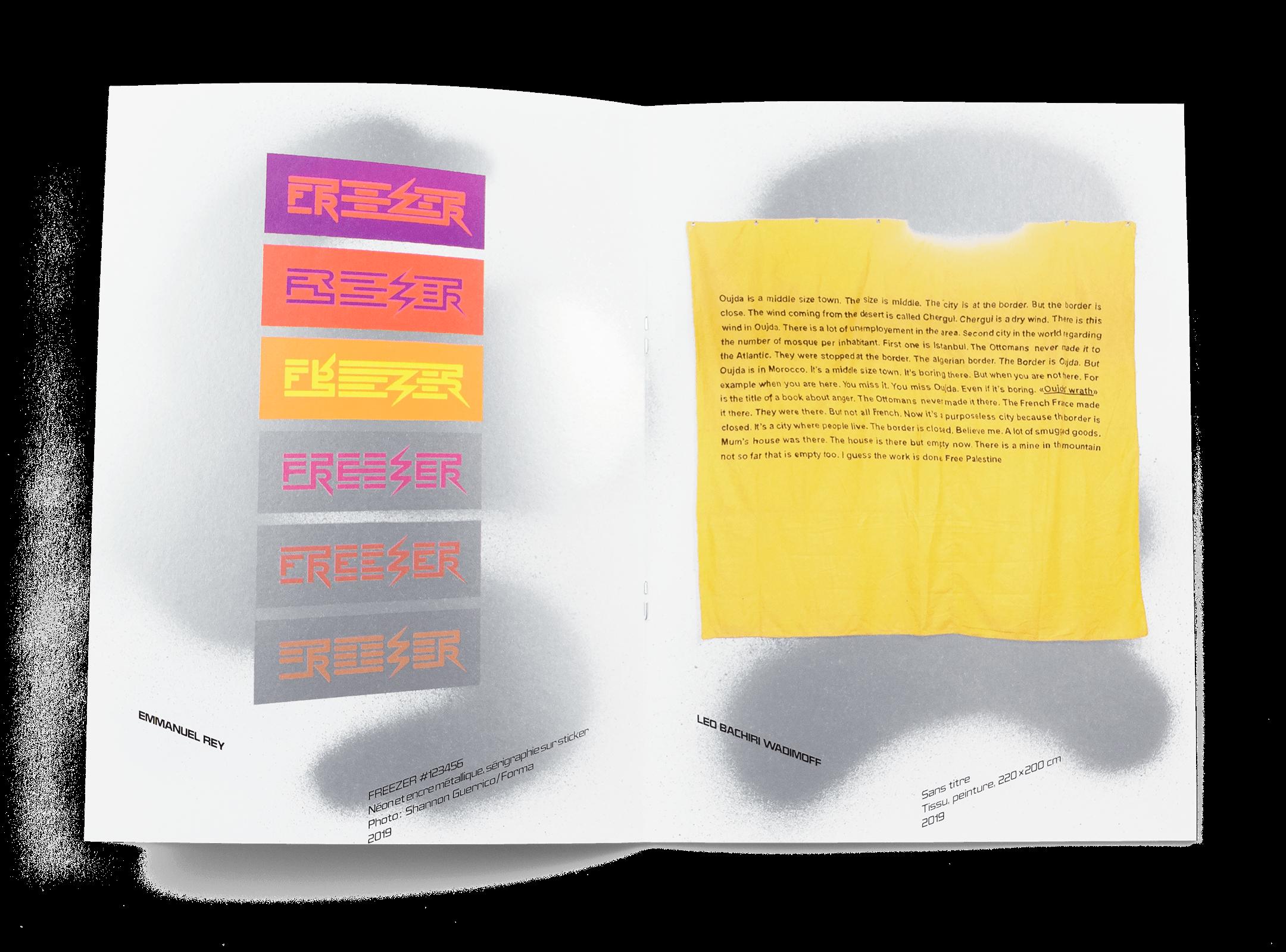 Œuvres de Emmanuel Rey et Léo Bachiri Wadimoff dans la brochure de l'exposition de Simon Paccaud à la Ferme de la Chapelle