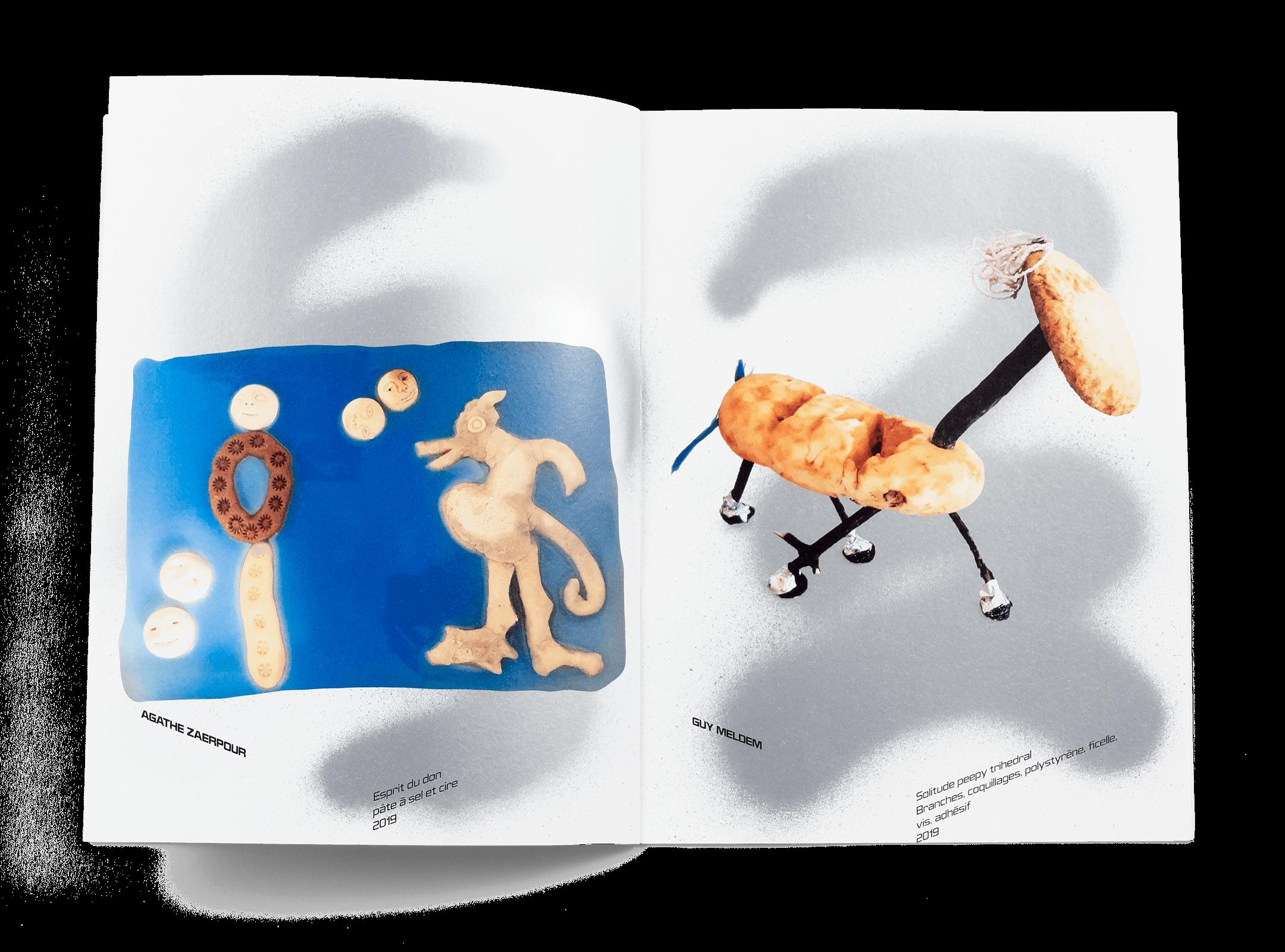 Œuvres de Agathe Zaerpour et Guy Meldem dans la brochure de l'exposition de Simon Paccaud à la Ferme de la Chapelle