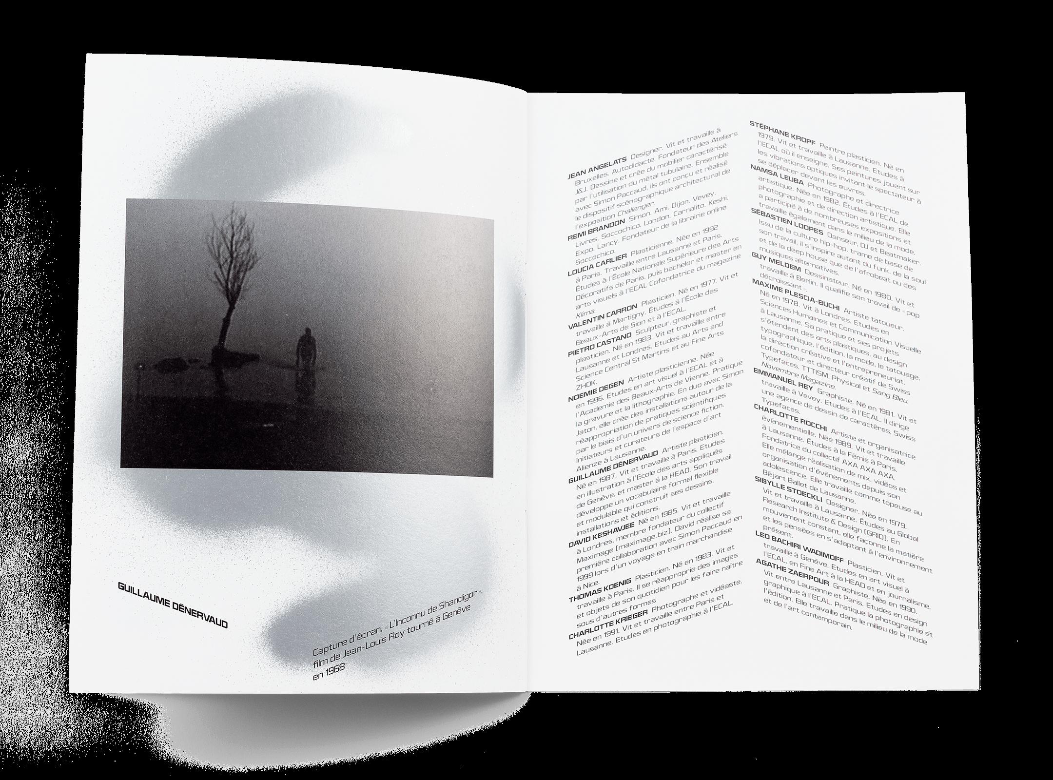 Œuvre de Guillaume Dénervaud dans la brochure de l'exposition de Simon Paccaud à la Ferme de la Chapelle