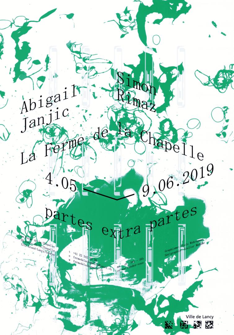 Affiche de l'exposition de Abigail Janjic et Simon Rimaz à la Ferme de la Chapelle