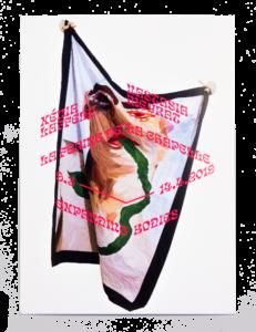Œuvre textile de Xénia Laffely sur le carton d'invitation de l'exposition Expanding Bodies à la Ferme de la Chapelle